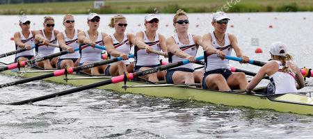 U.S. rowers, from right, Mary Whipple, Caryn Davies, Caroline Lind, Eleanor Logan, Meghan Musnicki, Taylor Ritzel, Esther Lofgren, Zsuzsanna Francia, and Erin Cafaro stroke during a women's rowing eight heat in Eton Dorney, near Windsor, England, at the 2012 Summer Olympics