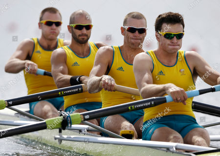Australia's, from right, Joshua Dunkley-Smith, Drew Ginn, James Chapman and William Lockwood stroke to win a men's rowing four heat in Eton Dorney, near Windsor, England, at the 2012 Summer Olympics