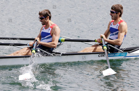 Great Britain's Mark Hunter and Zac Purchase row on their way to winning the silver medal in Eton Dorney, near Windsor, at the 2012 Summer Olympics