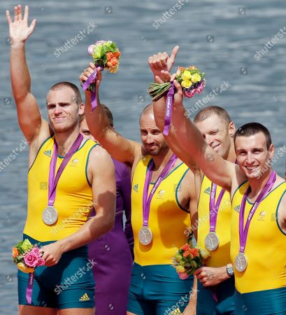 Australia's from right, Joshua Dunkley-Smith, Drew Ginn, James Chapman and William Lockwood celebrate after winning the silver medal for the men's rowing four in Eton Dorney, near Windsor, at the 2012 Summer Olympics