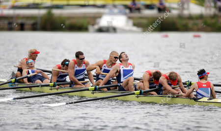 Great Britain's, from right, Phelan Hill, Constantine Louloudis, Matthew Langridge, Greg Searle, Mohamed Sbihi, Richard Egington, Tom Ransley, James Ford, and Alex Partridge react after winning the bronze medal in the men's rowing eight in Eton Dorney, near Windsor, England, at the 2012 Summer Olympics