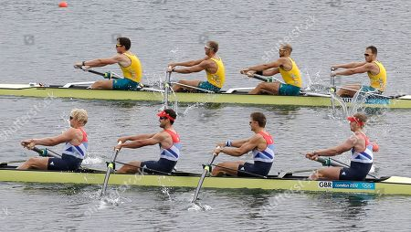 Great Britain's, bottom left to right, Andrew Triggs Hodge, Tom James, Pete Reed and Alex Gregory, bottom, and Australia's, top from left, Joshua Dunkley-Smith, Drew Ginn, James Chapman and William Lockwood compete during a men's rowing four semifinal in Eton Dorney, near Windsor, England, at the 2012 Summer Olympics, . Great Britain finished first and Australia second