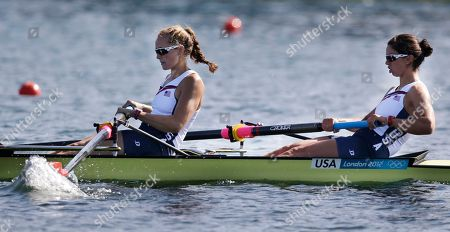 Stock Photo of U.S. rowers Sarah Zelenka, right, and Sara Hendershot drive during a women's rowing pair heat in Eton Dorney, near Windsor, at the 2012 Summer Olympics
