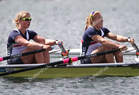 U.S. rowers Sarah Trowbridge, right, and Margot Shumway stroke in a women's rowing double sculls heat in Eton Dorney, near Windsor, England, at the 2012 Summer Olympics