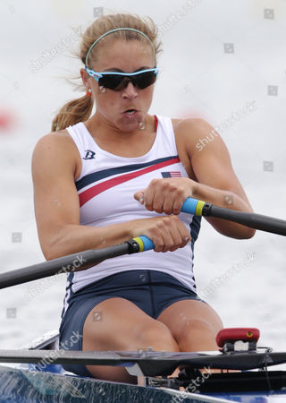 U.S. rower Genevra Stone strokes a the start of a women's rowing single sculls quarterfinal in Eton Dorney, near Windsor, England, at the 2012 Summer Olympics