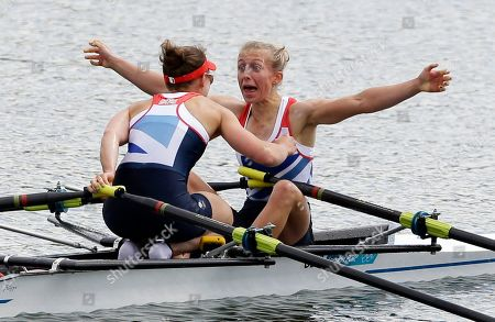 Great Britain's Katherine Copeland, left, and Sophie Hosking celebrate after winning the gold medal for the lightweight women's rowing double sculls in Eton Dorney, near Windsor, at the 2012 Summer Olympics
