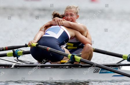 Great Britain's Katherine Copeland, right, and Sophie Hosking celebrate after winning the gold medal for the lightweight women's rowing double sculls in Eton Dorney, near Windsor, England, at the 2012 Summer Olympics
