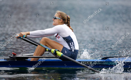 U.S. rower Genevra Stone strokes during a women's rowing single sculls final B in Eton Dorney, near Windsor, England, at the 2012 Summer Olympics