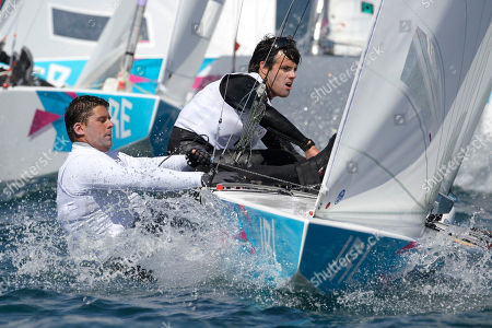 Peter O'Leary and David Burrows of Ireland compete on the Star class during the race 2 of the London 2012 Summer Olympics, in Weymouth and Portland, England