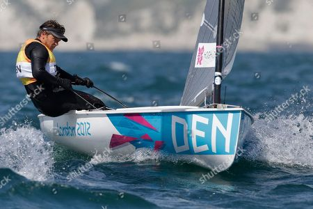 Denmark's Jonas Hogh Christensen competes during the finn dinghy class race at the London 2012 Summer Olympics, in Weymouth and Portland, England