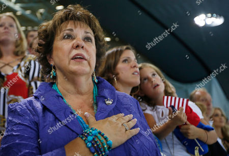 Debbie, Phelps, mother of United States swimmer Michael Phelps, sings the national anthem at the Aquatics Centre in the Olympic Park during the 2012 Summer Olympics, London