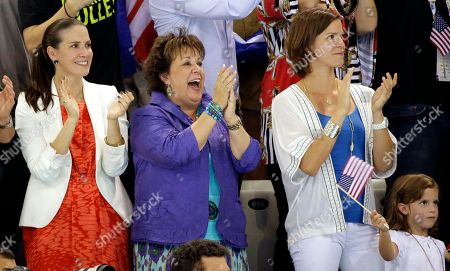 Debbie Phelps, center, cheers on her son, U.S. swimmer Michael Phelps, in the men's 4 x 100-meter medley relay final at the Aquatics Centre in the Olympic Park during the 2012 Summer Olympics in London