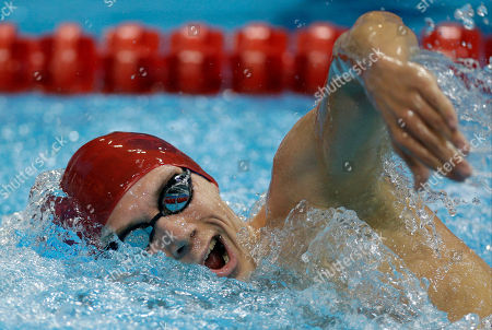 Britain's Daniel Fogg competes in a 1500-meter freestyle swimming heat at the Aquatics Centre in the Olympic Park during the 2012 Summer Olympics in London