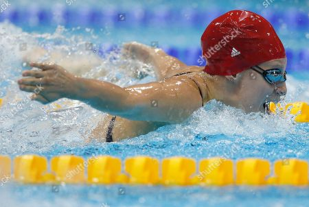 Britain's Ellen Gandy competes in a women's 200-meter butterfly swimming heatat the Aquatics Centre in the Olympic Park during the 2012 Summer Olympics in London