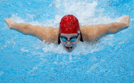 Stock Photo of Britain's Ellen Gandy competes in a women's 200-meter butterfly swimming heatat the Aquatics Centre in the Olympic Park during the 2012 Summer Olympics, London