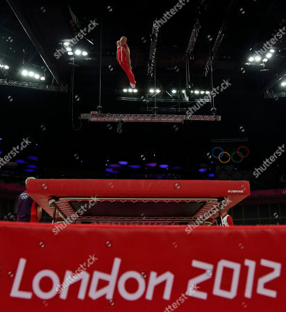 Denmark's Peter Jensen performs during the men's trampoline qualification at the 2012 Summer Olympics, in London