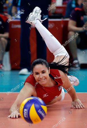 Lindsey Berg United States' Lindsey Berg reaches for the ball during a women's preliminary volleyball match against Brazil at the 2012 Summer Olympics, in London