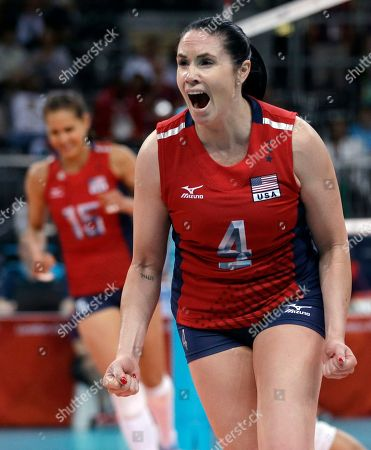Logan Tom, Lindsey Berg United States' Lindsey Berg, right, and teammate Logan Tom, left, celebrate during a women's preliminary volleyball match against Brazil at the 2012 Summer Olympics, in London
