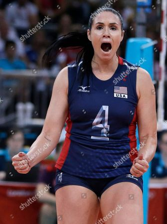 Lindsey Berg United States' Lindsey Berg celebrates during a women's preliminary volleyball match against Serbia at the 2012 Summer Olympics, in London