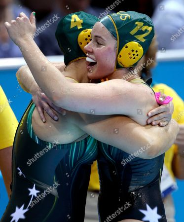 Holly Lincoln-Smith, Nicola Zagame Australia's Holly Lincoln-Smith, left, and Nicola Zagame celebrate a 10-8 victory over Italy during a preliminary women's water polo match at the 2012 Summer Olympics, in London