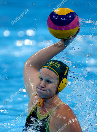 Rowie Webster Rowie Webster of Australia shoots a penalty against Britain during a preliminary women's water polo match at the 2012 Summer Olympics, in London