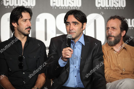 "Carlos Bolado, José María Yázpik, Daniel Gimenez Cacho Flanked by Mexican actors José María Yázpik, left, and Daniel Gimenez Cacho, Mexican movie director Carlos Bolado, center, speaks during a press conference to promote their latest film, ""Colosio, el Asesinato"" in Mexico City, . The film, a political fiction thriller, based on the 1994 murder of Luis Donaldo Colosio, then candidate of the Institutional Revolutionary Party (PRI), seeks to raise awareness among Mexican citizens and motivate them to cast an informed vote in the July 1 election"