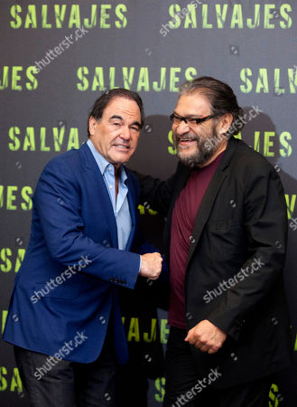 "Oliver Stone, Joaquin Cosio Director Oliver Stone, left, and Mexican actor Joaquin Cosio attend a photo call to promote their new movie, drug-war thriller ""Salvajes,"" or ""Savages,"" in Mexico City"