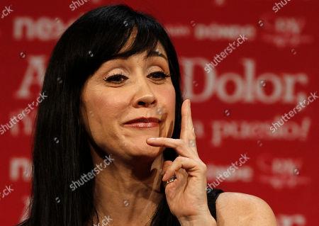 Mexican actress Susana Zabaleta smiles during a press conference in Mexico City