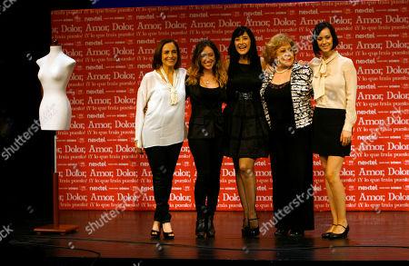 Mexican actresses, from left, Diana Bracho, Mariana Trevino, Susana Zabaleta, Silvia Pinal and Gabriela de la Garza pose for photographers during a press conference in Mexico City