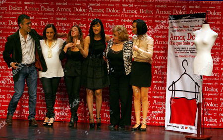 Stock Photo of Mexican theater director Francisco Franco, left, and Mexican actresses, from left, Diana Bracho, Mariana Trevino, Susana Zabaleta, Silvia Pinal and Gabriela de la Garza pose for photographers during a press conference in Mexico City