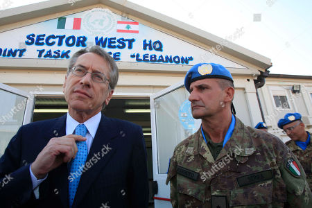 Stock Picture of Paulo Sierra, Giulio Terzi di Sant Agata Italian Minister of Foreign Affairs Giulio Terzi di Sant Agata, left, stands next to the Italian Commander of United Nations peacekeepers in Lebanon Gen. Paulo Sierra, right, at the Italian UN peacekeepers base, in Shamaa village, southern Lebanon, . Terzi is in Lebanon to meet with Lebanese officials and to visit the Italian UN peacekeeper unit in South Lebanon
