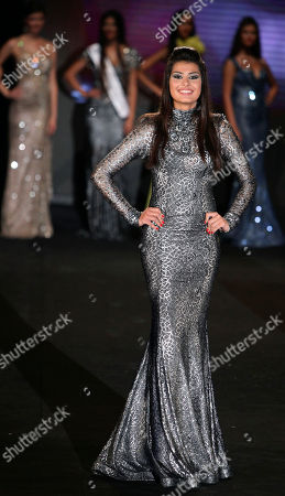 Newly crowned Mina Milutinovic from Serbia poses before being crowned Miss World in the Next Top Model 2012 contest, in Beirut, Lebanon, late . Thirty-eight models gathered from all over the world to compete in the biggest international event to be held in Lebanon