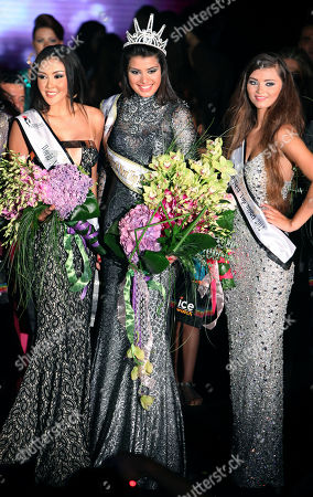 Miss Serbia Mina Milutinovic, center, poses with second runner up Miss Thailand Kannika Khunkaeo, left, and runner up Miss Russia Uliana Berdysheva during the Miss World Next Top Model 2012 contest, in Beirut, Lebanon, late . Thirty-eight models gathered from all over the world to compete in the biggest international event to be held in Lebanon