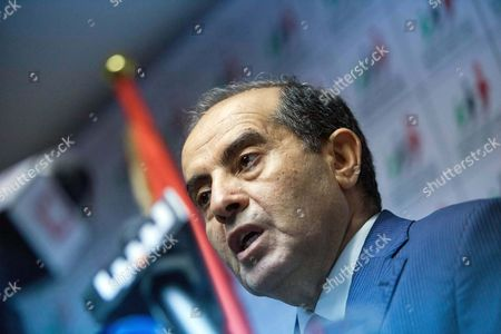 Mahmoud Jibril Mahmoud Jibril speaks to the media during a presser at National Forces Allies head quarter in Tripoli, Libya, . Libya's first nationwide elections in nearly five decades brought hints Sunday of an Arab Spring precedent: Western-leaning parties making strides over Islamist rivals hoping to follow the same paths to power as in neighbors Egypt and Tunisia. A liberal alliance led the former rebel prime minister Mahmoud Jibril appeared to hold more than half the seats in the capital Tripoli and the revolution stronghold of Benghazi, according to several party representatives