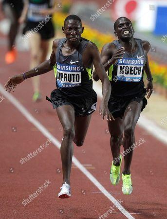 Conselus Kipruto of Kenya wins the 3,000m men's steeplechase in front of Paul Kipsiele Koech of Kenya at the Herculis international athletics meeting, at the Louis II Stadium in Monaco