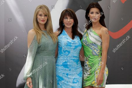 Left to right, US actress Kim Matula, US actress Hunter Tylo and Canadian actress Jacqueline Macinnes Wood pose during a photocall at the 2012 Monte Carlo Television Festival, Tuesday, June 12th, 2012, in Monaco