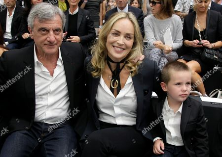 Sharon Stone, Sidney Toledano, Quinn Kelly Stone Dior president Sidney Toledano, left, Sharon Stone, centre and her son Quinn Kelly Stone attend the show of Belgian fashion designer Kris Van Assche for Dior as part of the Men's Spring-Summer 2013 collection, for the Paris Fashion Week, in Paris, France