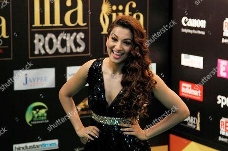 "Gauhar Khan Bollywood actress Gauhar Khan arrives on the ""green carpet"" for the IIFA Rocks! concert as part of q three-day long International Indian Film Academy (IIFA) awards in Singapore"