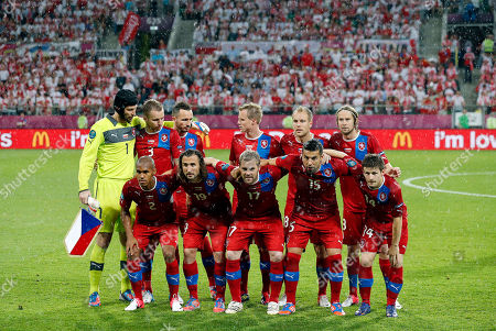 Czech goalkeeper Petr Cech, Michal Kadlec, Tomas Sivok, David Limbersky, Daniel Kolar and Jaroslav Plasil, back row form left, and, front row from left, Theodor Gebre Selassie, Petr Jiracek, Tomas Hubschman, Milan Baros and Vaclav Pilar pose for a team group prior to during the Euro 2012 soccer championship Group A match between Czech Republic and Poland in Wroclaw, Poland