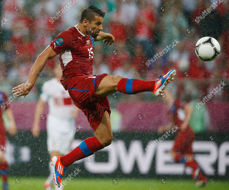 Milan Baros Czech Republic's Milan Baros reaches for a ball during the Euro 2012 soccer championship Group A match between Czech Republic and Poland in Wroclaw, Poland
