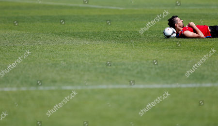 Milan Baros Czech Republic's Milan Baros rests during a training session of Czech Republic at the soccer Euro 2012 in Wroclaw, Poland