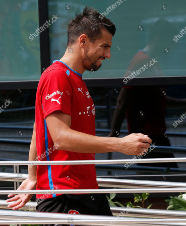 Milan Baros Czech Republic'c Milan Baros leaves the pitch after a training session at the soccer Euro 2012 in Wroclaw, Poland