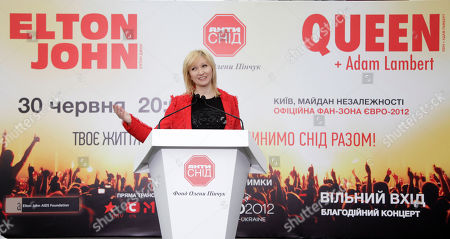 Elena Pinchuk Elena Pinchuk, Ukrainian business woman and sponsor of ANTIAIDS Foundation (EPAAF) announces a major event on even of the euro 2012 final attended by two showbiz celebraties in Kiev, Ukraine. . On June 30, 2012, at the invitation of the Elena Pinchuk Foundation, Elton John, Adam Lambert and Queen will perform to hundreds and thousands of people in the Fan Zone at Independence Square in Kiev