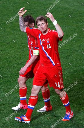 Russia's Roman Pavlyuchenko celebrates after scoring his side's fourth goal during the Euro 2012 Group A soccer match between Russia and Czech Republic, in Wroclaw, Poland