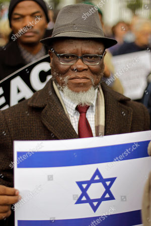 A Jewish supporter during a protest against a proposal from South African trade minister Ron Davies in Cape Town, South Africa, . Around two hundred Jewish supporters gathered in front of parliament to demonstrate against a proposal to label goods originating from Israel as 'Made in occupied Palestinian territories