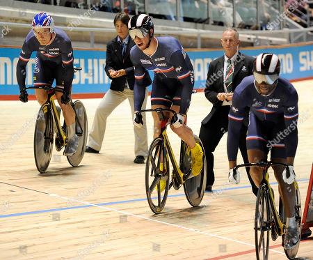 Gregory Bauge, Kevin Sireau, Michael D'Almeida France's Gregory Bauge, right, Kevin Sireau and Michael D'Almeida race in the final of the men's team sprint at the Track Cycling World Championships in Melbourne, Australia, . Australia won gold ahead of France and New Zealand