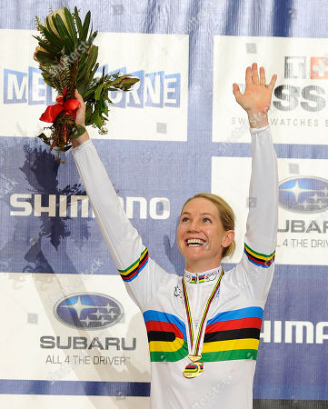 Stock Photo of Alison Shanks New Zealand's Alison Shanks waves after receiving her gold medal from the women's individual pursuit at the Track Cycling World Championships in Melbourne, Australia