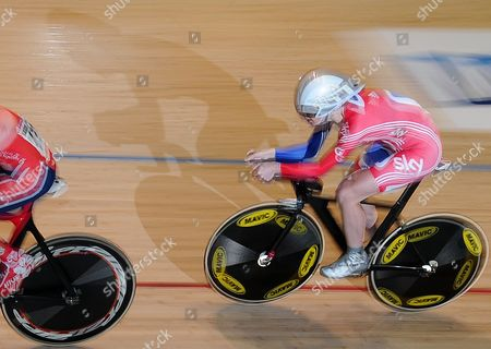 Stock Photo of Wendy Houvenaghel Britain's Wendy Houvenaghel races in the qualifying for the women's individual pursuit at the Track Cycling World Championships in Melbourne, Australia