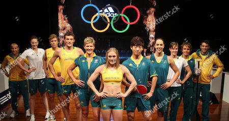 Jessica Schipper Cate Campbel Henry Frayne Craig Mottram Natalie Cook Sally Pearson, Justin Han Jenna O'Hea Bronte Campbell kayaker Kynan Mitchell Watt Australian Olympic athletes, from left to right, Jessica Schipper, Cate Campbel, Henry Frayne, Craig Mottram, Natalie Cook, Sally Pearson, Justin Han, Jenna O'Hea, Bronte Campbell, kayaker Kynan and Mitchell Watt pose with new Australian team uniforms for the London 2012 Olympic Games during an unveiling ceremony in Sydney, Australia