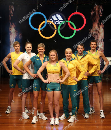 Henry Frayne Cate Campbel Natalie Cook, Sally Pearson Jessica Schipper Mitchell Watt Craig Mottram Australian Olympic athletes, from left to right, Henry Frayne, Cate Campbel, Natalie Cook, Sally Pearson, Jessica Schipper, Mitchell Watt and Craig Mottram pose with new Australian team uniforms for the London 2012 Olympic Games during an unveiling ceremony in Sydney, Australia